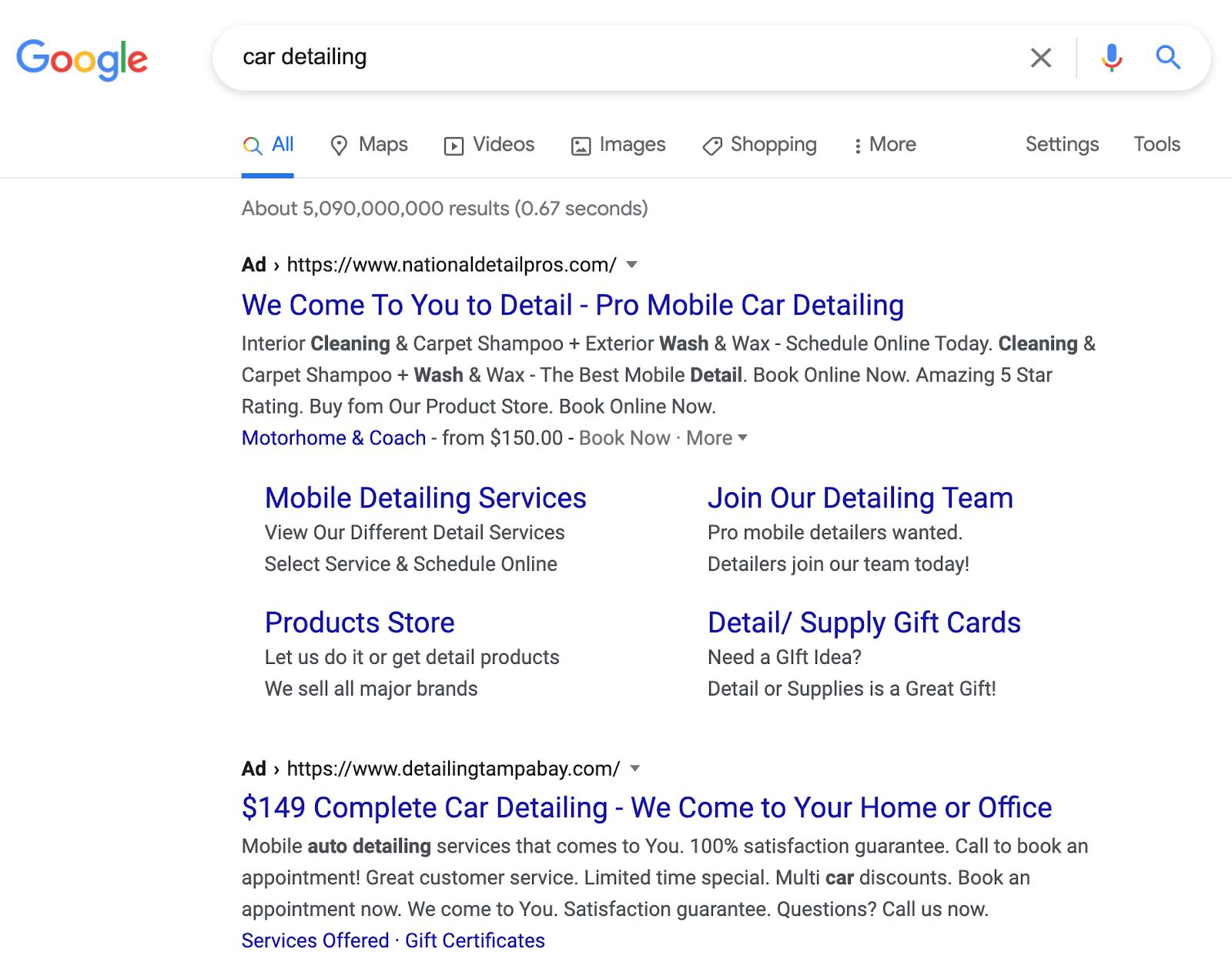 Un ejemplo de un anuncio de Google para una empresa de detalles de automóviles.